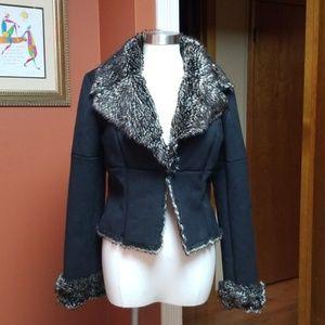 Express black faux fur lined short coat